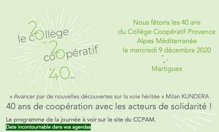 LE COLLÈGE COOPÉRATIF PROVENCE ALPES MÉDITERRANÉE FÊTE SES 40 ANS MERCREDI 9 DÉCEMBRE 2020